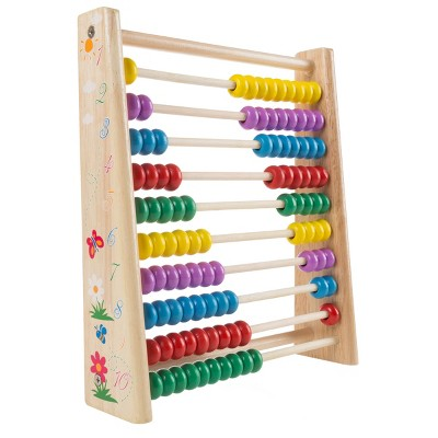 Wooden Abacus-Classic and Colorful Children's Math and Counting Toy with Free-Standing Frame and 100 Beads-Learning and Educational Toy by Toy Time