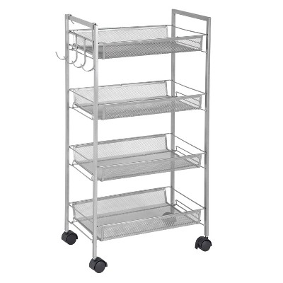 Greenway 4 Tier Mobile Storage Cart with Side Hooks