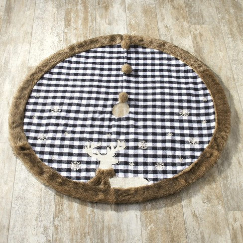 Lakeside Plaid Faux Fur Trim Christmas Tree Skirt With Embroidered Reindeer Target