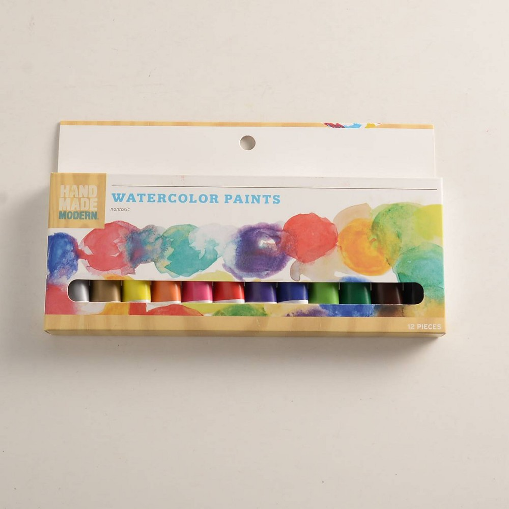 Image of 12ct Watercolor Paint Set - Assorted Hand Made Modern , Blue Brown Red