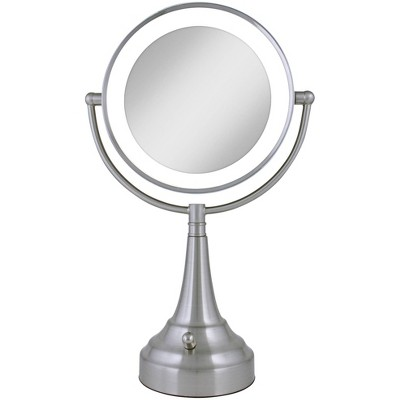 Zadro Satin Nickel Double-Sided Round LED Vanity Mirror