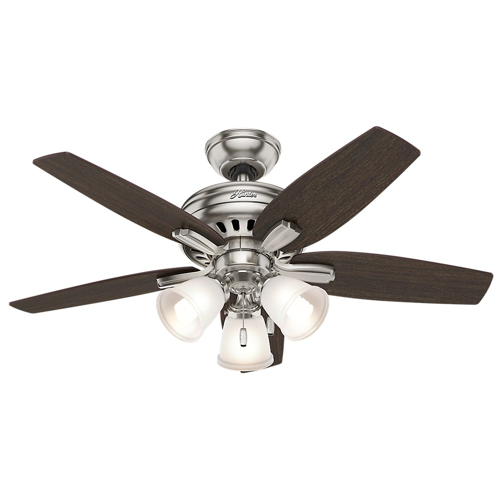 Image of 42 Newsome Brushed Nickel Ceiling Fan with Light - Hunter Fan