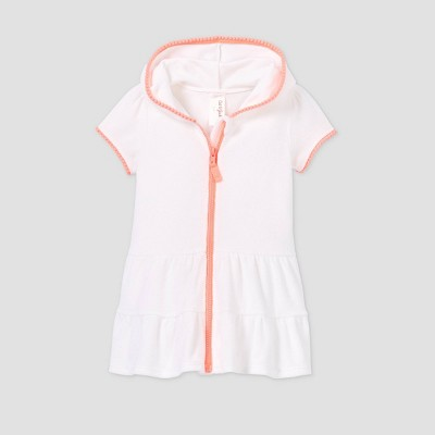 Toddler Girls' Zip-Up Hooded Terry Cover Up - Cat & Jack™ White