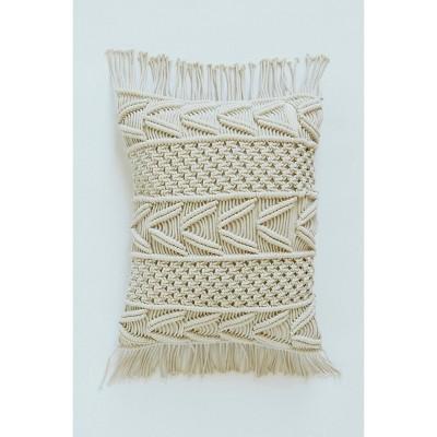 """20""""x15"""" Macrame Lumbar Throw Pillow Natural - Patina Vie"""
