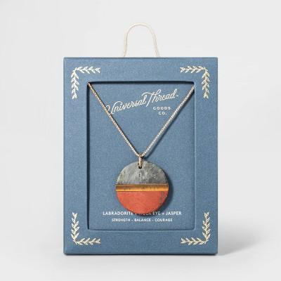 Boxed Circle with Labradorite, Tiger Eye, and Jasper Semi-Precious Stones Pendant Necklace - Universal Thread™ Brown
