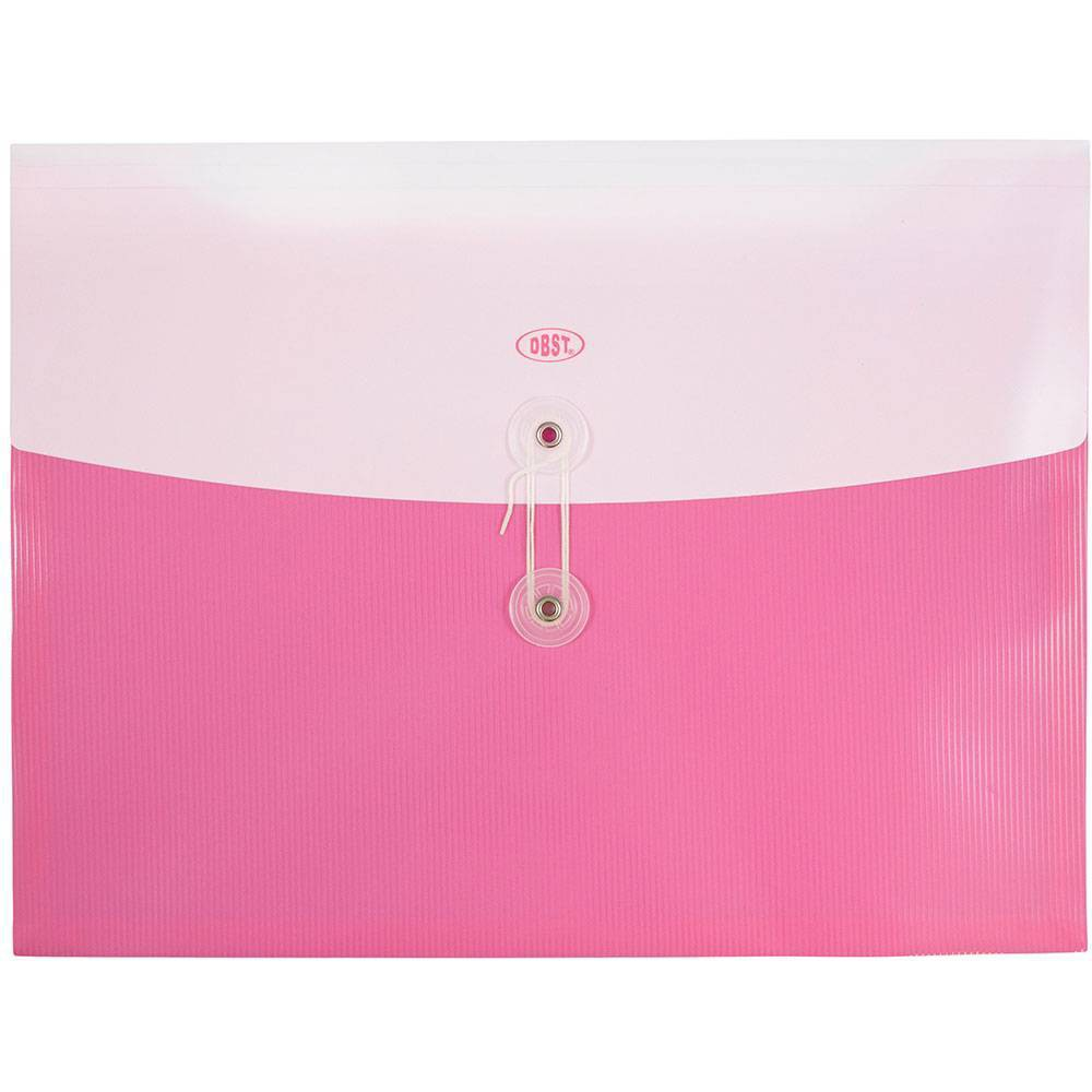 Jam Paper 9 3/4'' x 13'' 12pk Plastic Envelopes with Button and String Tie Closure, Letter Booklet - Pink