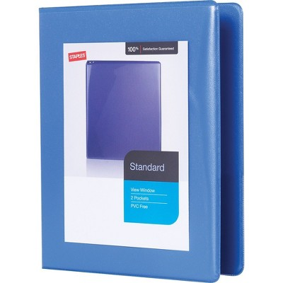 "Staples 1"" Standard 5-1/2"" x 8-1/2"" Mini View Binder w/Round Rings Periwinkle 55424/26456"