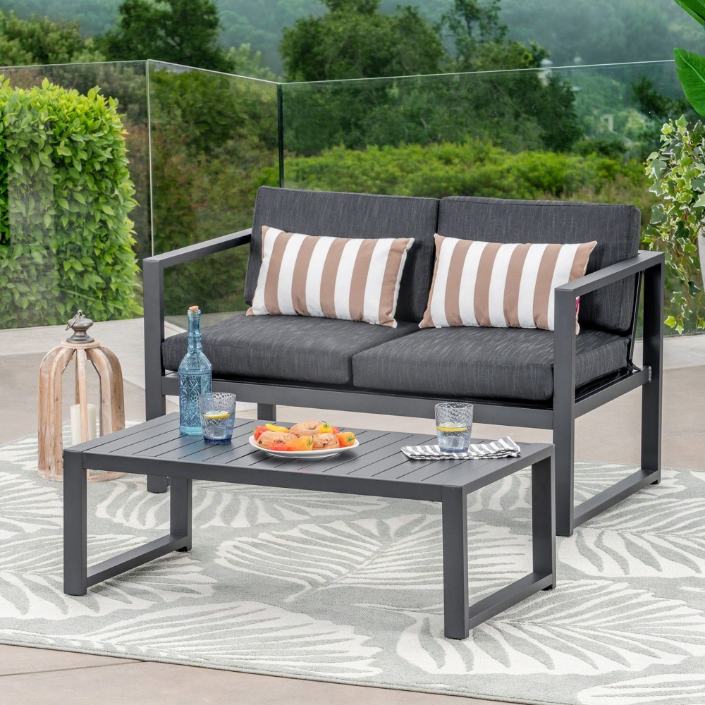 Navan 2pc Aluminum Loveseat and Coffee Table Set - Black/Dark Gray - Christopher Knight Home