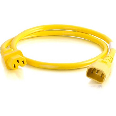 C2G 3ft 18AWG Power Cord (IEC320C14 to IEC320C13) - Yellow - For PDU, Switch, Server - 250 V AC / 10 A - Yellow - image 1 of 1