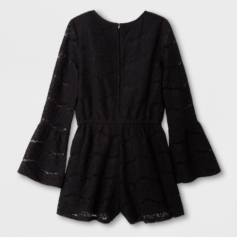 ded456bc Girls' Long Sleeve Lace Rompers - Art Class™ Black : Target