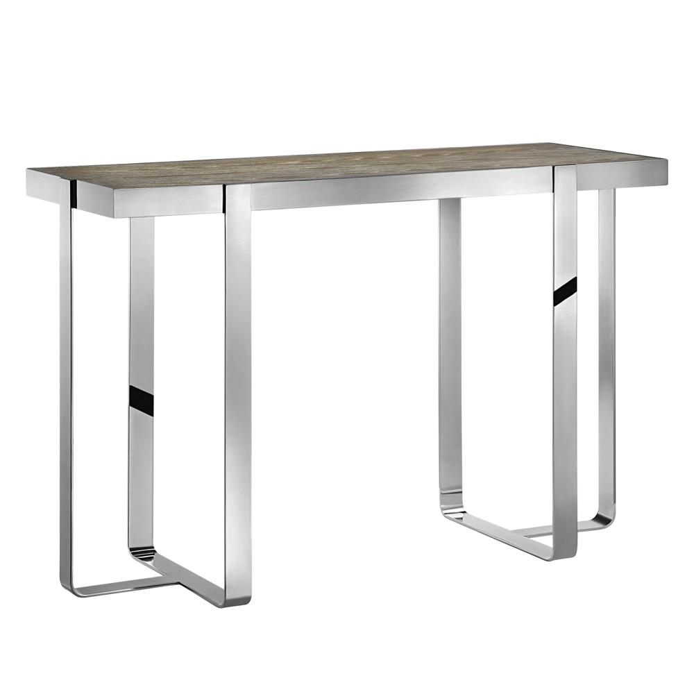 Brighton Console Table - Oak/Chrome (Brown/Grey)