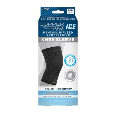 Copper Fit ICE Knee Sleeve Infused with Cooling Action & Menthol - S/M