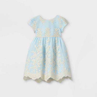 Mia & Mimi Toddler Girls' Floral Lace Short Sleeve Dress - Blue