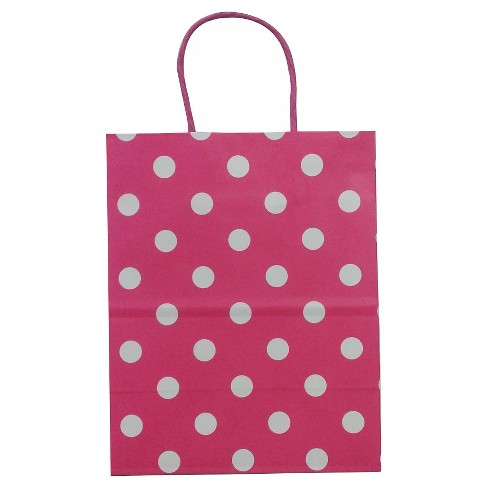 Hot Pink & White Dots Gift Bag - Spritz™ - image 1 of 1