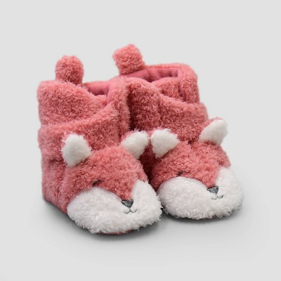 Baby Girls' Fox Constructed Bootie Slippers - Just One You® made by carter's Pink Newborn