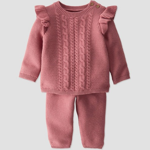 Baby Girls' 2pc Organic Cotton Sweater Top and Bottom Set - little planet by carter's Pink - image 1 of 3
