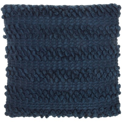 """17""""x17"""" Life Styles Woven Striped Square Throw Pillow Navy - Mina Victory"""