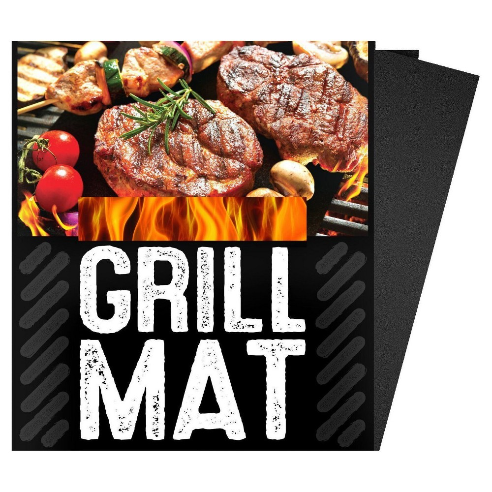 Bbq Grill Sheets Mat ,100% Non Stick Safe ,Extra Thick,Reusable and Dishwasher Safe, 3pc of (13X15.75) - G&f 10037-3, Black