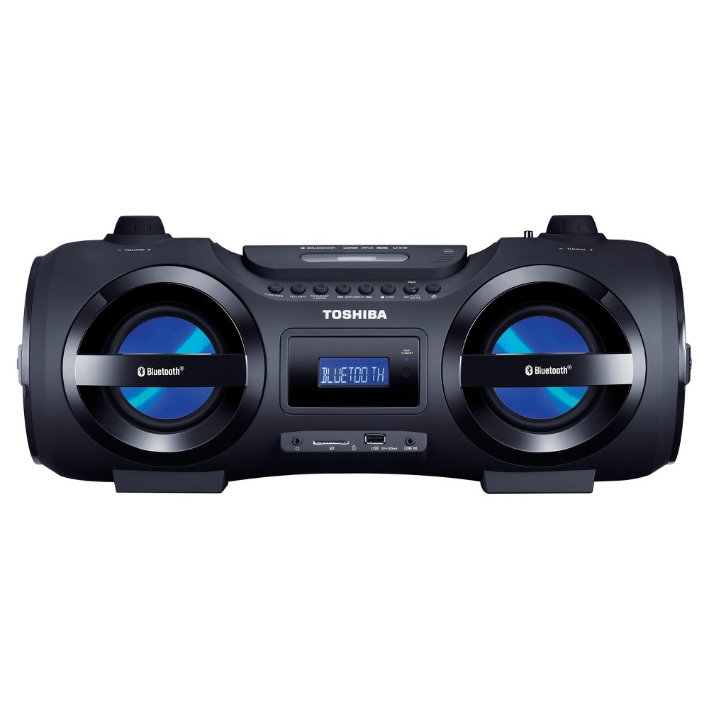 Toshiba Wireless/Portable Bluetooth Top Loading CD Player Boombox with Remote and Disco Led Lights - Black (TY-CWU500) Play all your favorite tunes and old mixtapes on this Wireless/Portable Black Bluetooth Top Loading CD Player Boombox from Toshiba. This boom box lets you stream music wirelessly from smartphones, tablets and other Bluetooth-enabled devices. The player supports CD, CD-R/RW and MP3 formats. Also makes for an impressive gift for those who love their music loud and are always in the mood for outdoor parties.