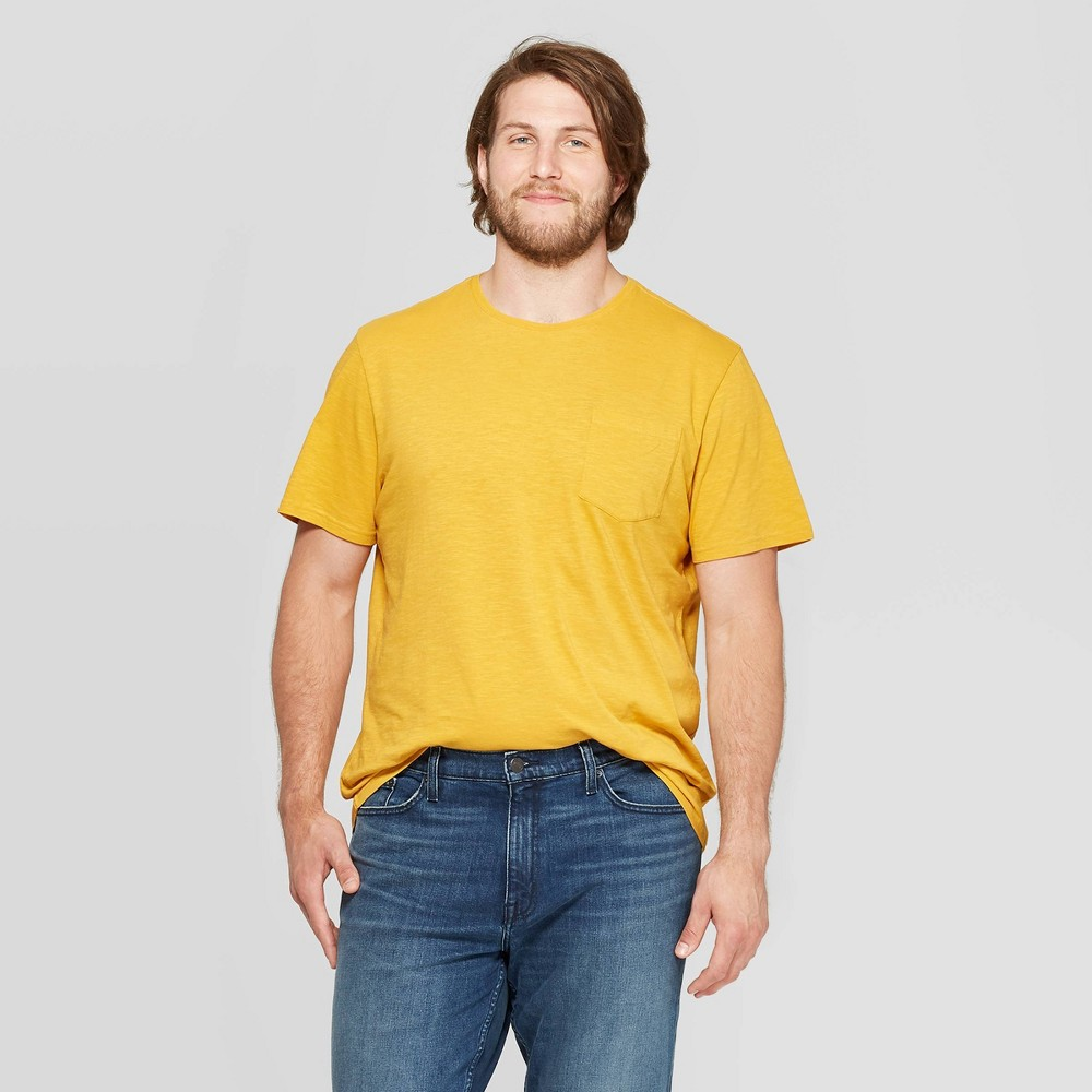 Mens Tall Slub Pocket Crew Neck T-Shirt - Goodfellow & Co Squash LT Compare