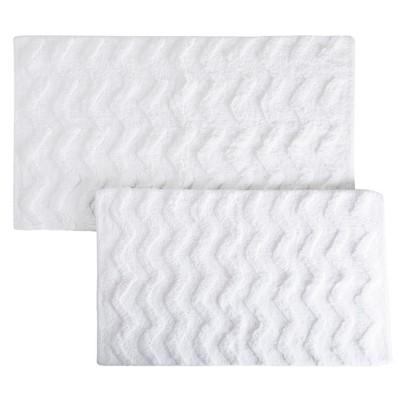2pc Chevron Bathroom Mat Set White - Yorkshire Home