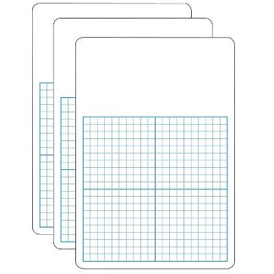 "Flipside 1/2"" Graph w/Work Space Melamine Dry-Erase Whiteboard 11"" x 16"" FLP11162-3"