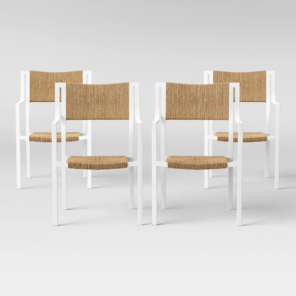 Buchanan 4pk Patio Dining Chair - White - Threshold was $500.0 now $250.0 (50.0% off)