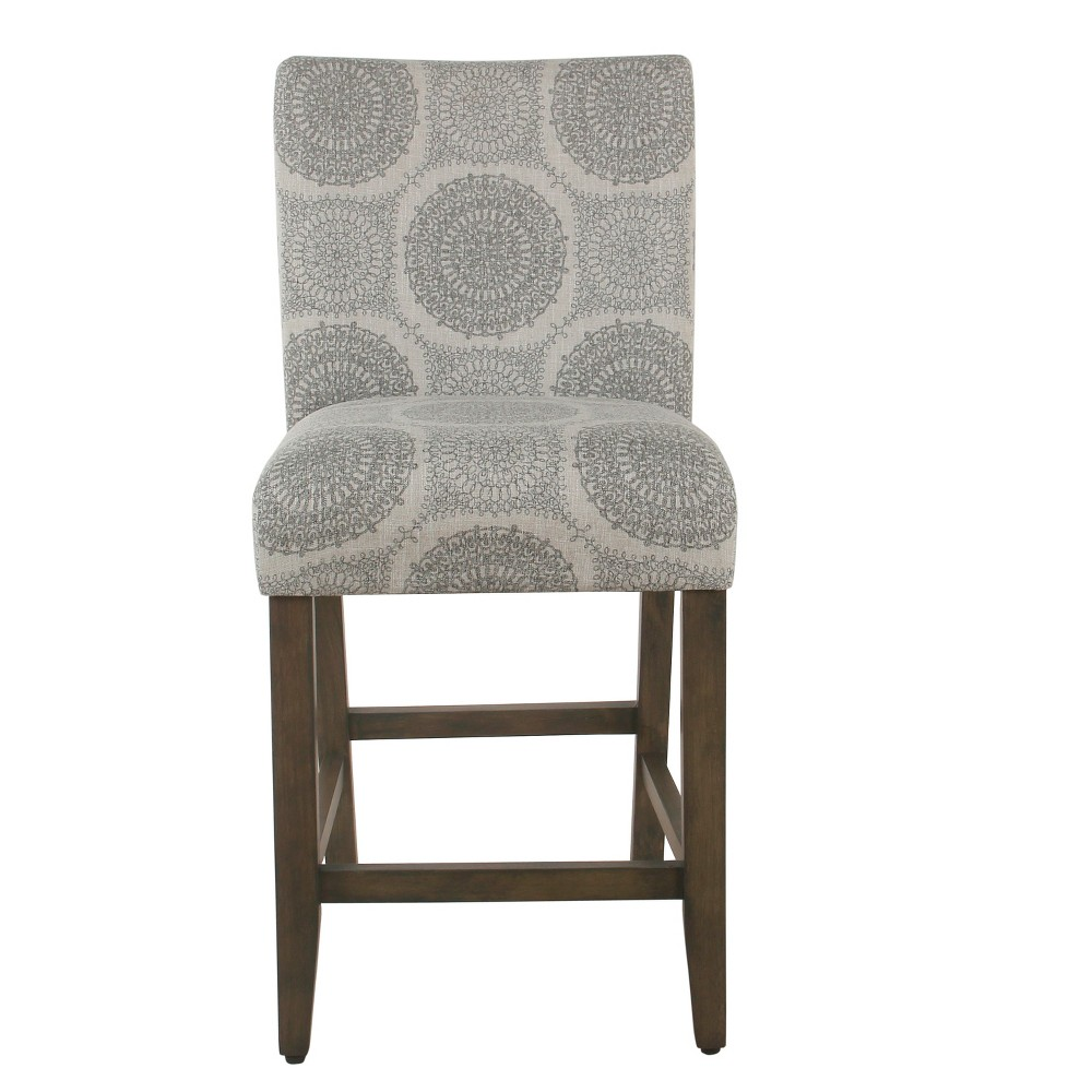 "Image of ""24"""" Classic Parsons Counter Stool Gray Medallion - Homepop"""