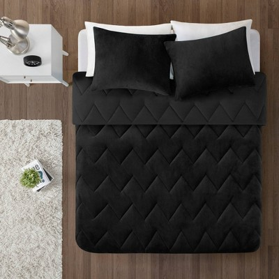 Jasper Solid Chevron Quilted Reversible to Cozy Plush Comforter Set