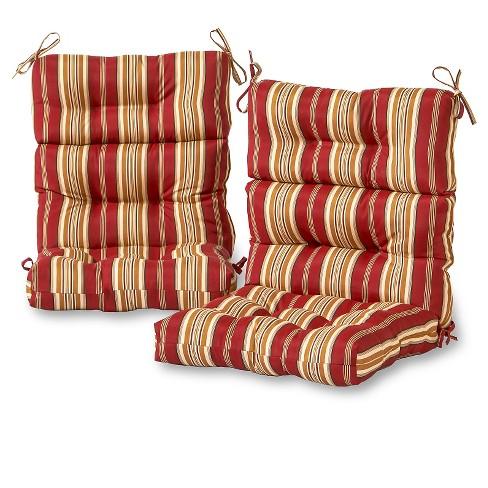 Set of 2 Roma Stripe Outdoor High Back Chair Cushions - Kensington Garden - image 1 of 3