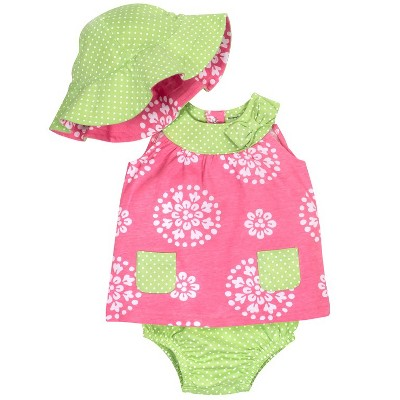 Gerber® Baby Girls' 3pc Dress, Panty and Reversible Hat - Pink/Lime 3-6M