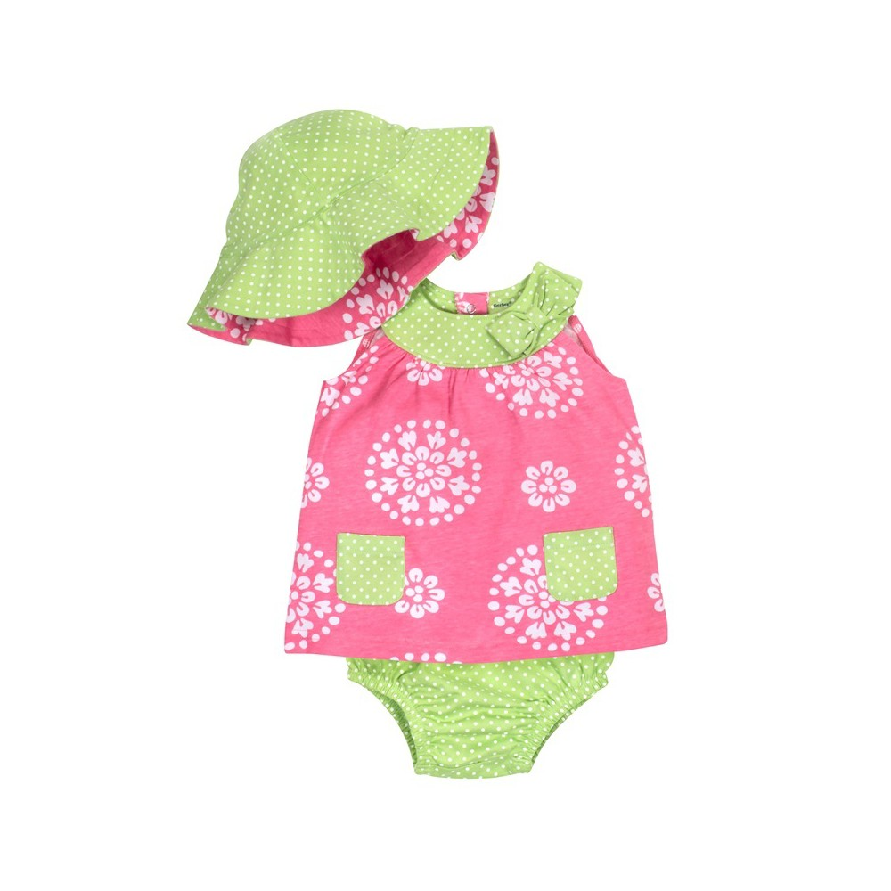 Gerber Baby Girls' 3pc Dress, Panty and Reversible Hat - Pink/Lime 6-9M