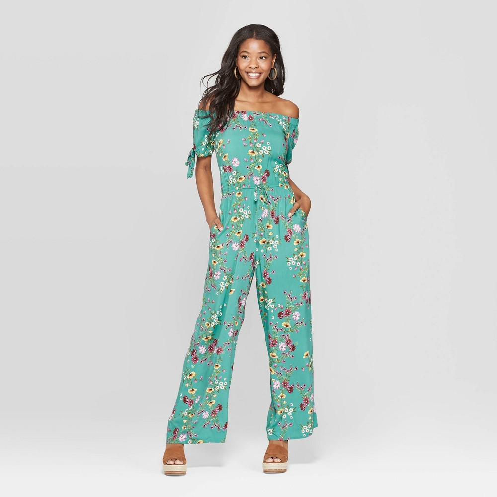 Floral Print Off the Shoulder Jumpsuit woman's dress green