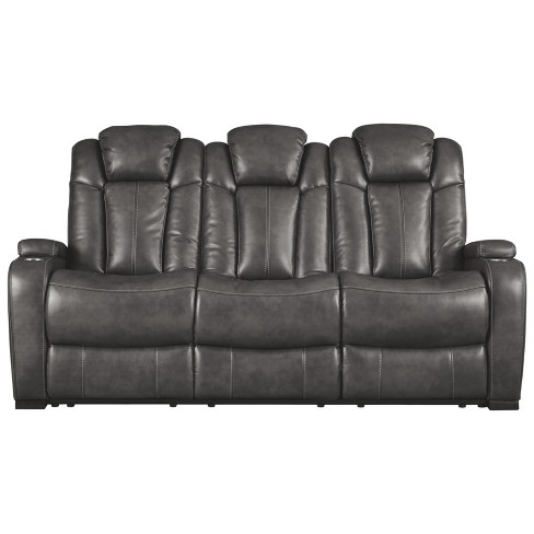 Turbulence Power Reclining Sofa with Adjustable Headrest Gray Heather - Signature Design by Ashley - image 1 of 7