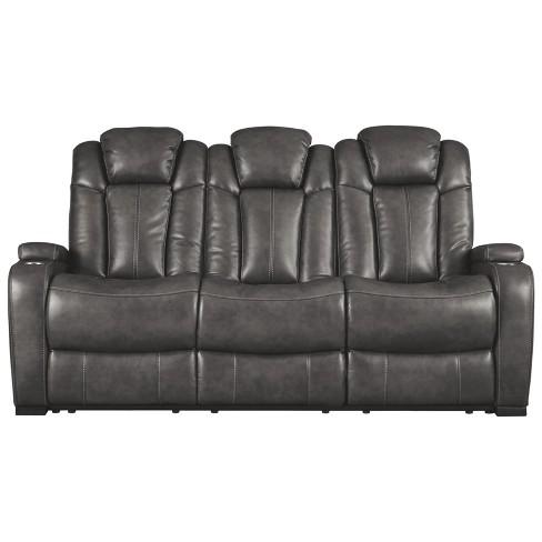 Turbulence Power Reclining Sofa With Adjustable Headrest Gray