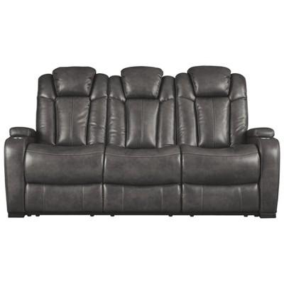 Merveilleux Turbulence Power Reclining Sofa With Adjustable Headrest Gray Heather    Signature Design By Ashley
