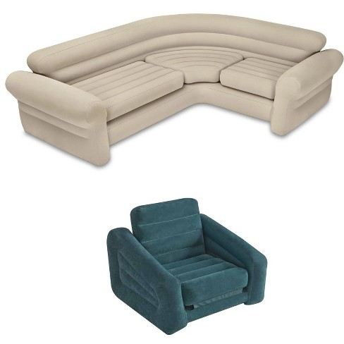 Intex Inflatable Corner Sectional Sofa & Inflatable Air Mattress Pull-Out  Chair
