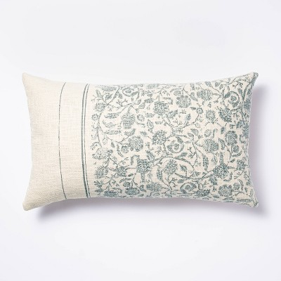 Oversized Floral Striped Lumbar Throw Pillow Blue/Cream - Threshold™ designed with Studio McGee