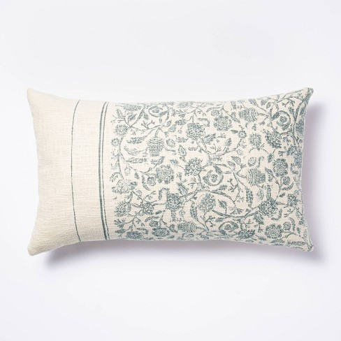 Oversized Floral Striped Lumbar Throw Pillow Blue Cream Threshold Designed With Studio Mcgee Target