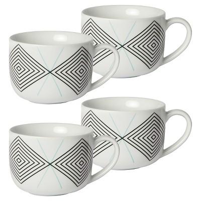 Cheeky® Memphis 16oz Porcelain Mug - Black Diamond with Teal X - 4-pack