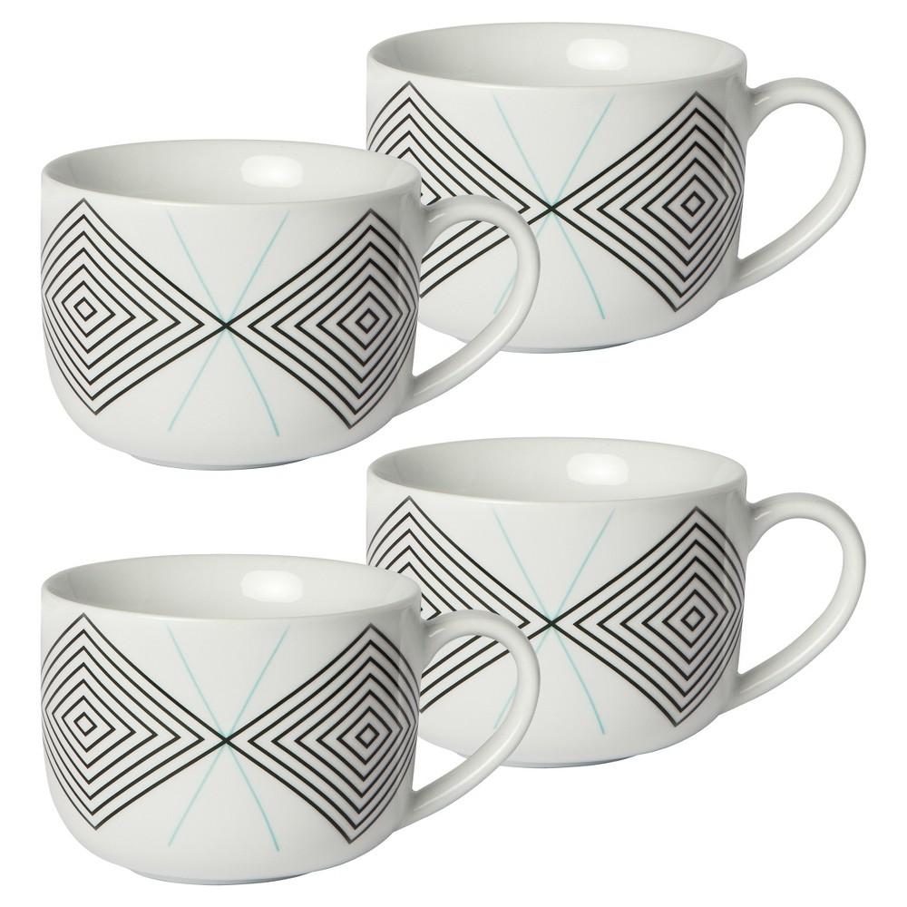 Cheeky Memphis 16oz Porcelain Mug - Black Diamond with Teal X - 4-pack
