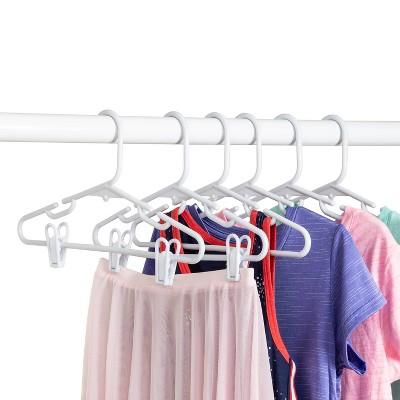 Kid's Tubular Hanger with Clips - White (18pk)