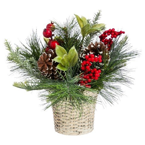 "12"" Holly and Pinecone Floral Tabletop Décor - image 1 of 1"
