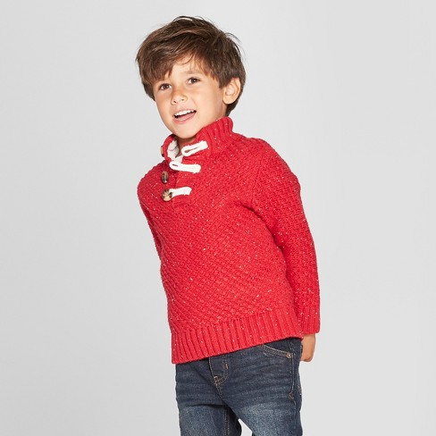 Toddler Boys Long Sleeve Mock Neck Toggle Sweater Cat Jack Red