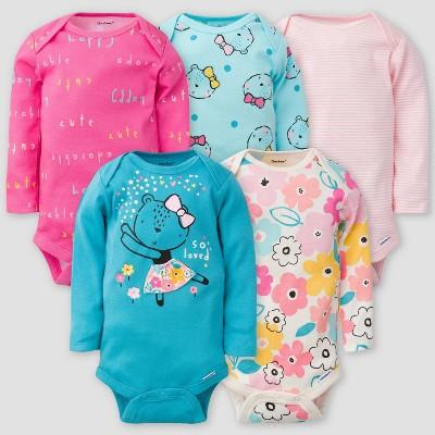 Gerber Baby Girls' 5pk Bear Long Sleeve Onesies - Pink/Off-White/Blue 0-3M