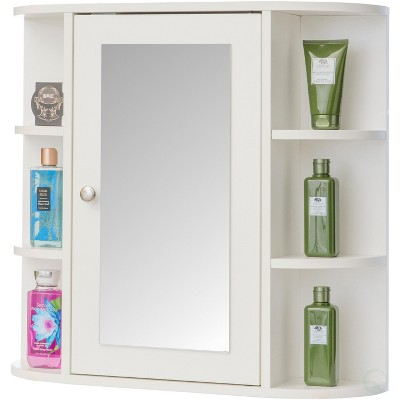 Basicwise White Wall Mounted Bathroom Storage Cabinet Organizer, Mirrored Vanity Medicine Chest with Open Shelves
