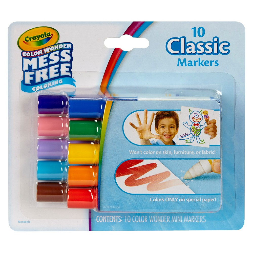 Crayola Color Wonder Markers, Mess Free - 10 Classic Colors, Multi-Colored