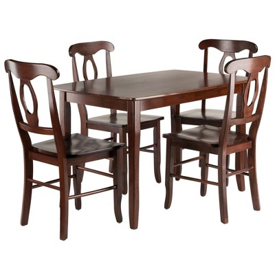 5pc Inglewood Dining Table With 4 Key Hole Back Chairs Walnut - Winsome