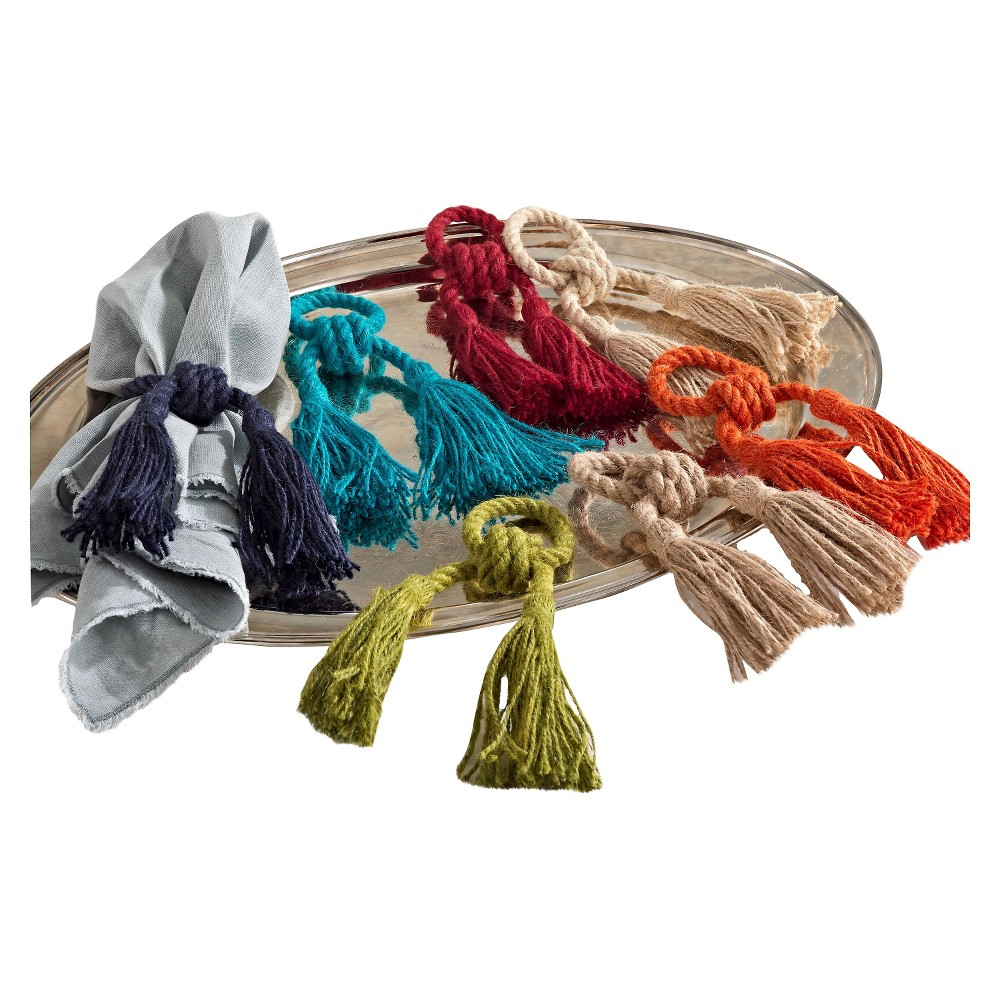 Image of Jute Tassel Napkins Rings - Red (Set of 4)