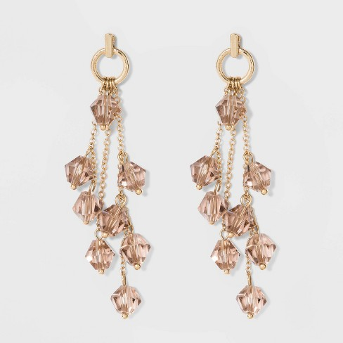 Cluster Beaded Drop Earrings - A New Day™ Light Pink - image 1 of 3